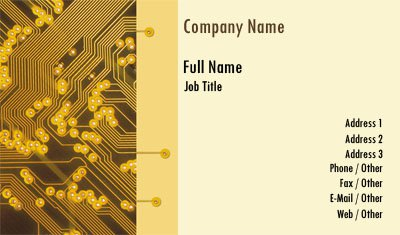 Yellow and Gold Circuit Business Card Template